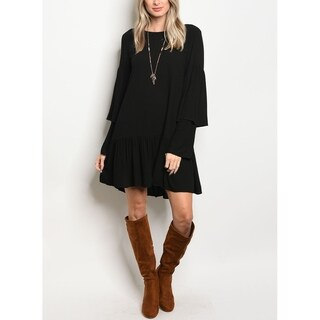 JED Women's Double Bell Sleeve Tunic Dress