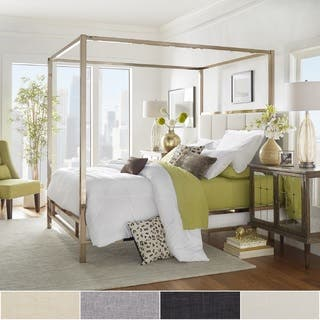 Solivita Champagne Gold Metal Canopy Bed with Vertical Panel Headboard by  iNSPIRE Q Bold