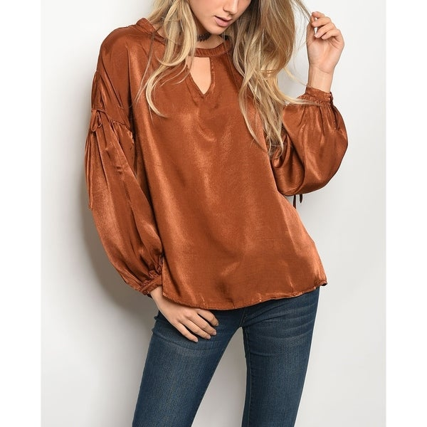 384c97f6dbf Shop JED Women s Bubble Sleeve Keyhole Neck Satin Top - Free Shipping On Orders  Over  45 - Overstock - 18805691