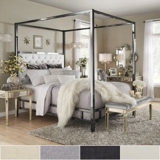 Solivita Black Nickel Metal Canopy Bed with Tufted Headboard by iNSPIRE Q Bold