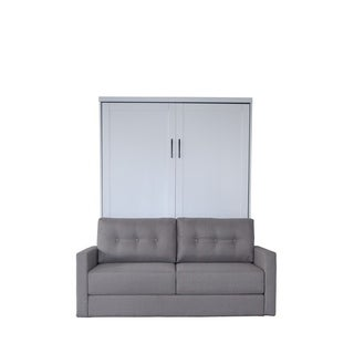 Queen Andrew Sofa-Murphy Bed in Pearl White Finish and Heather Tweed Fabric