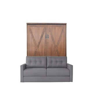 Queen Factory Sofa-Murphy Bed in Reclaimed Brown Finish and Heather Tweed Fabric