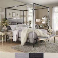Solivita Black Nickel Metal Canopy Bed with Horizontal Panel Headboard by iNSPIRE Q Bold
