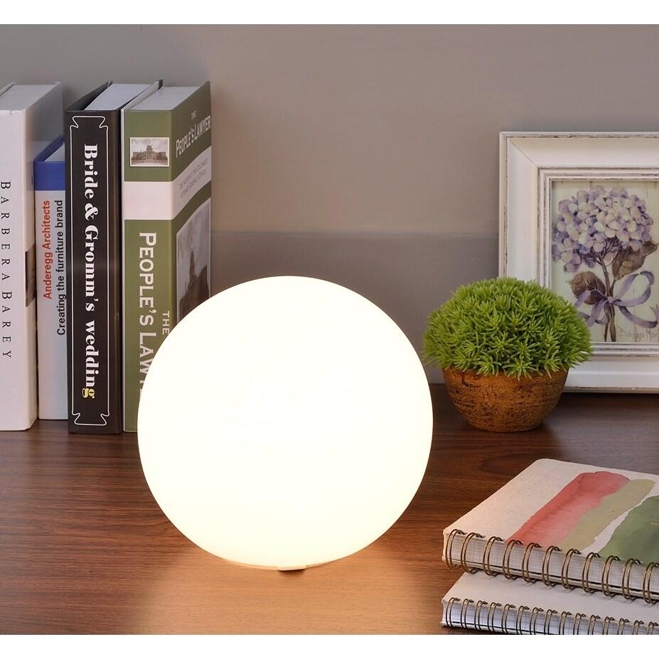 Large White Glass Globe Table Lamp (Metal)