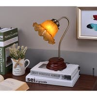 Amber Shade Victorian Goose Neck Table Lamp