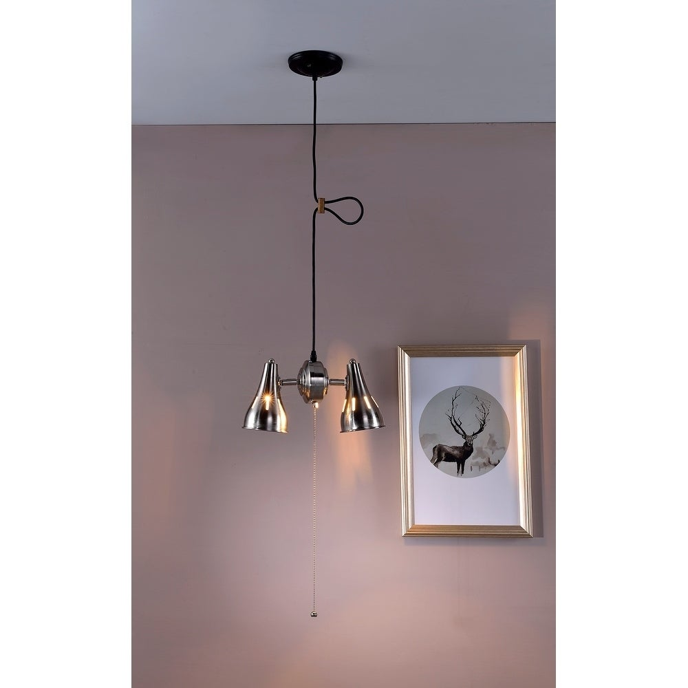 Silver Metal Cone Pull String Pedant Ceiling Lamp