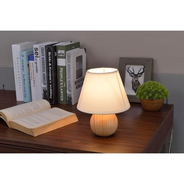 Natural Wood Cube Table Lamp