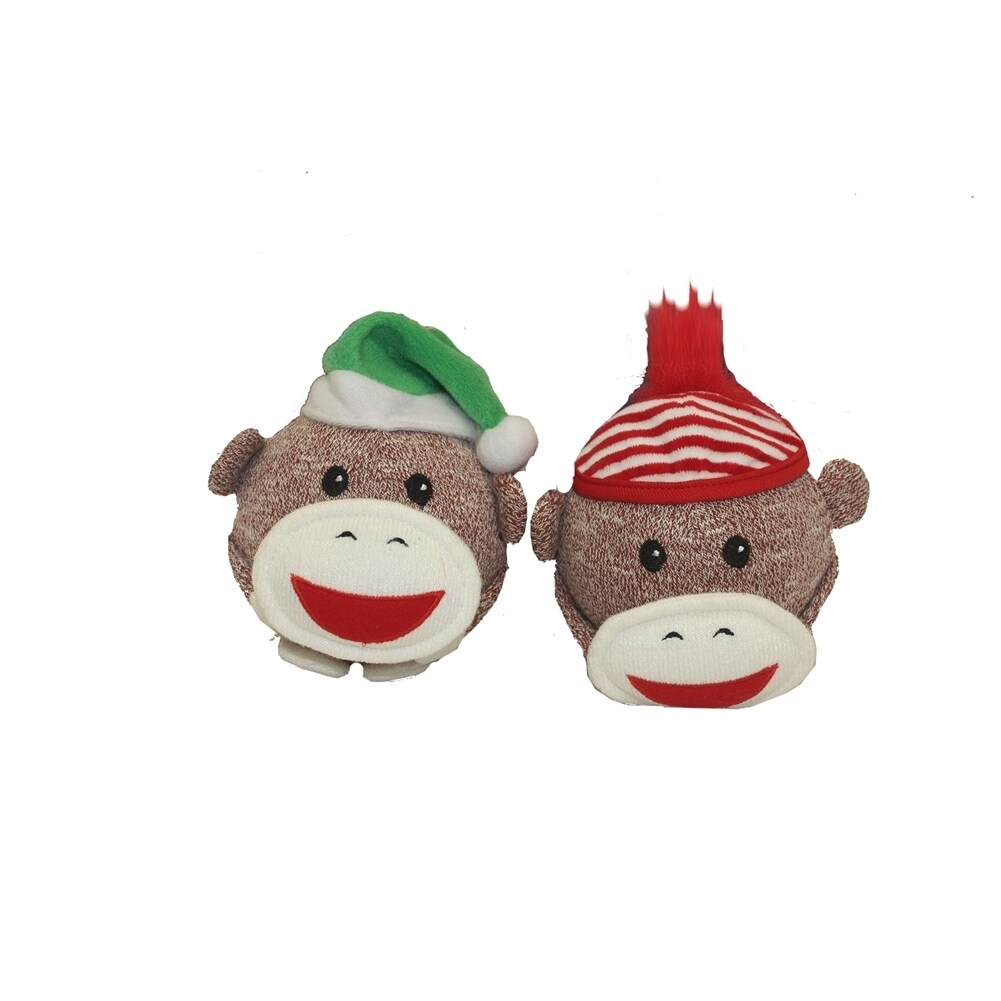 Multipet Sock Monkey Holiday Shaker Head 4 inch (Assorted...