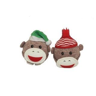 Multipet Sock Monkey Holiday Shaker Head 4 inch (Assorted Colors Hats)
