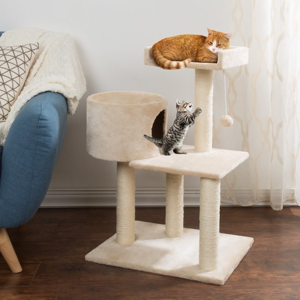3 Tier Cat Tree  Plush Multi Level Cat Tower With Scratching Posts By  PETMAKER