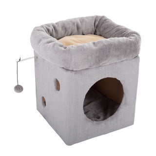 Cat Pet Bed/House with 2 Removable Plush Cushion Pads