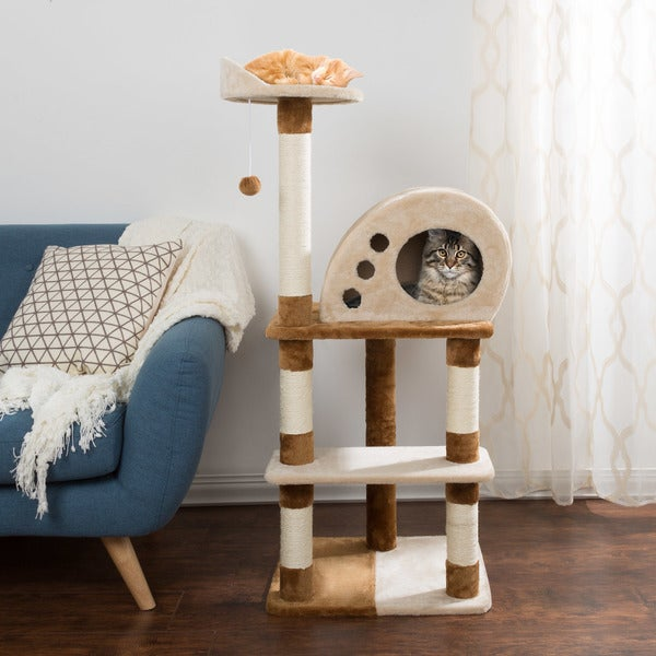 4 Tier Cat Tree- Plush Multi-Level Cat Tower By PETMAKER. Opens flyout.