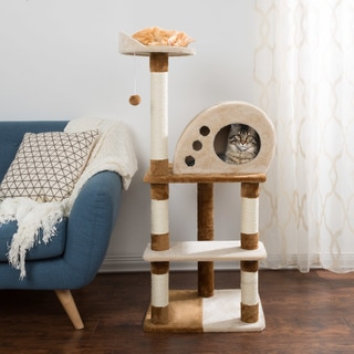 4 Tier Cat Tree- Plush Multi-Level Cat Tower By PETMAKER