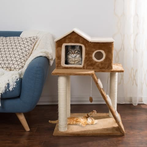 3 Tier Cat Tree- Plush Multilevel Cat Tower by PETMAKER