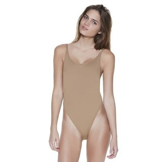 Solid Beige Womens High-Cut Vintage One Piece Size S