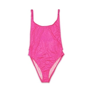 Shiny Pink Dot Womens High-Cut Vintage One Piece Size S