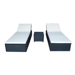 3pc Sun Lounge Chair Wicker Garden Sofa Furniture Set Cushioned Seat