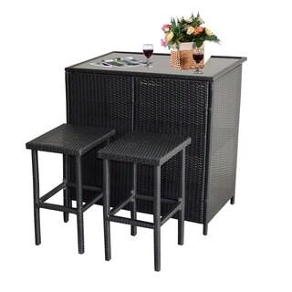 3PCS Wicker Bar Set Patio Outdoor Table & 2 Stools Furniture Steel