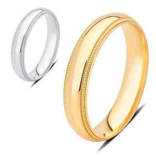 Divina 14K Plain Gold 4-mm Milgrain Wedding Band