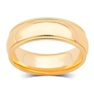 Divina 14K Plain Yellow Gold 6-mm Unisex Milgrain Wedding Band