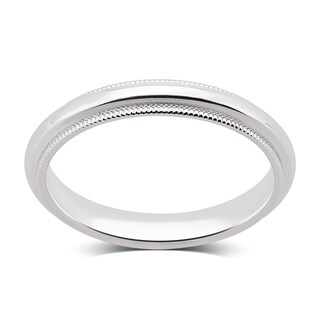 Divina 14K Plain White Gold 3-mm Milgrain Wedding Band