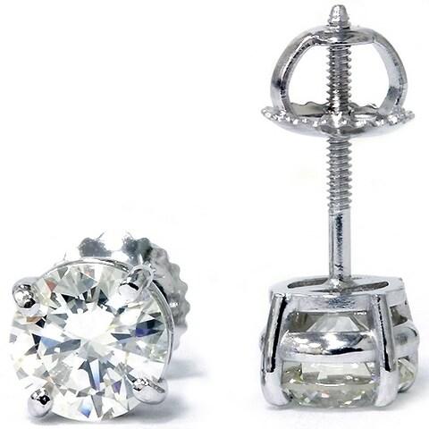 Bliss 14k White Gold 2 ct TDW Diamond Clarity Enhanced Studs 14k White Gold (F-G/SI2-I1)