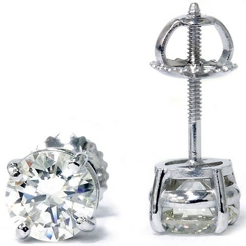 Pompeii3 14k White Gold 2 ct TDW Diamond Clarity Enhanced Studs 14k White Gold (F-G/SI2-I1)