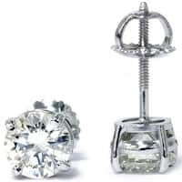 Bliss 14k White Gold 2 ct TDW Diamond Clarity Enhanced Studs 14k White Gold (F-G/SI2-I1)