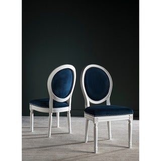 Safavieh Old World Dining Holloway Navy Velvet Oval Dining Chairs (Set of 2) (As Is Item)