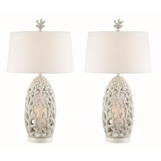 Seahaven Coral White Resin 32.5-inch Night Light Table Lamp (Set of 2)