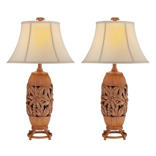 Seahaven Brown Resin/Linen 32-inch Palm Tree Table Lamp (Set of 2)
