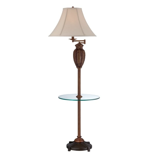 "Seahaven Wicker Glass Tray Floor Lamp with Swing Arm 61"" high"