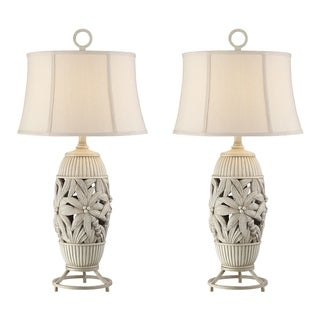 Seahaven Grey Resin/Linen 32-inch Palm Tree Table Lamp (Set of 2)