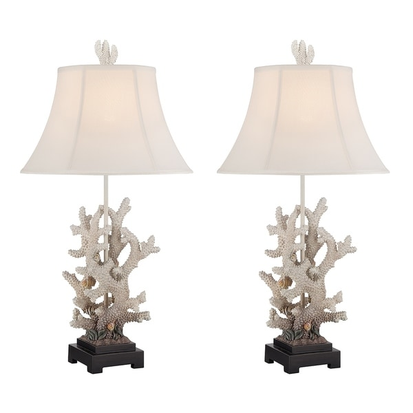 Seahaven Tropical Fish White Resin 29-inch Table Lamps with White Linen Shades (Set of 2)