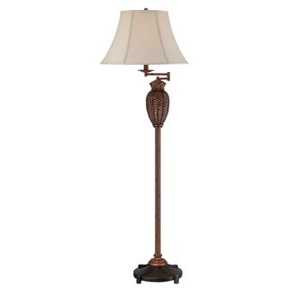 """Seahaven Wicker Floor Lamp with Swing Arm 61"""" high"""