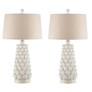Seahaven Seashell White Resin 32.5-inch Night Light Table Lamp (Set of 2)