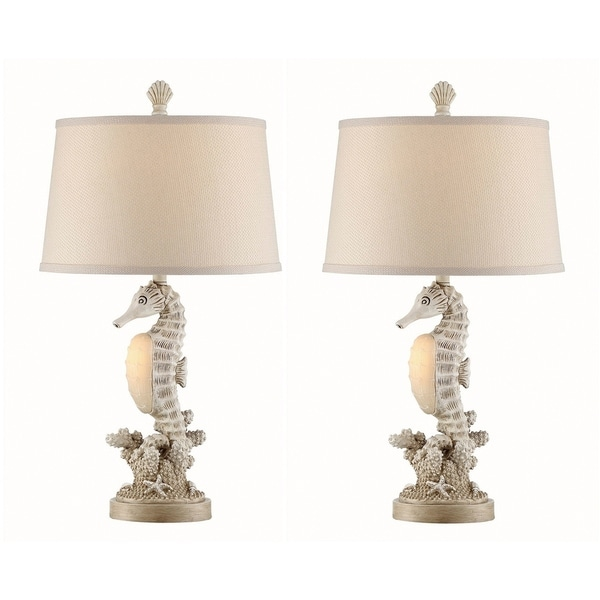 Seahaven Accent Seahorse White Resin Linen 26.5 Inch Table Lamps (Set Of 2)