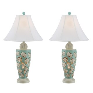 Seahaven Beach Shells Blue Resin/Linen 31-inch Nightlight Table Lamp
