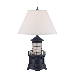 "Seahaven Navy Blue Lighthouse Night Light Table Lamp 27"" high"