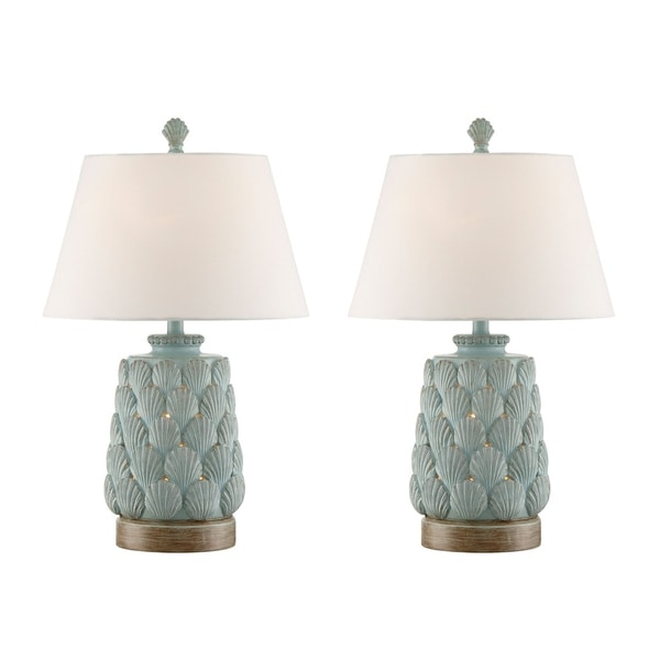 Seahaven Accent Seashell Blue Resin 25.5-inch Night Light Table Lamp (Set of 2)