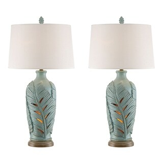 Seahaven Open Leaf Blue Resin 34-inch Table Lamp Night Light (Set of 2)