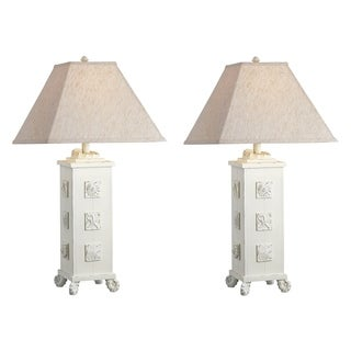 "Seahaven Accent Cottage White Shell Table Lamp 21"" high"