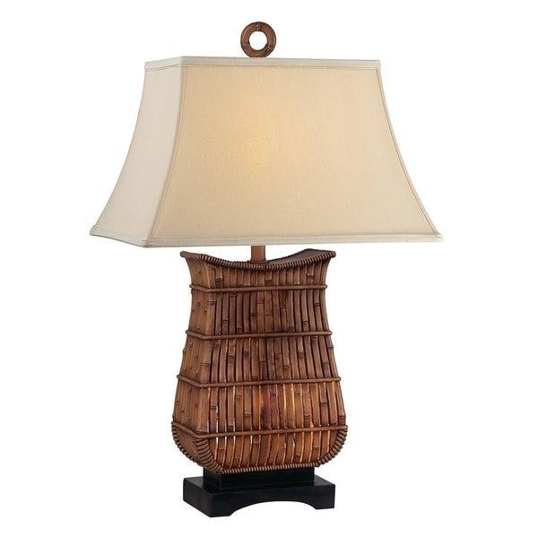 Seahaven Brown Rattan 33-inch Rectangular Night Light Table Lamp (Set of 2)