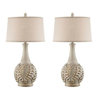 Seahaven Open Leaf Resin 32.5-inch Night Light Table Lamp With Linen Shade (Set of 2)