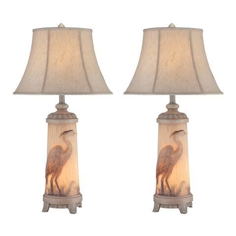 "Seahaven Heron Night Light Table Lamp 32"" high"