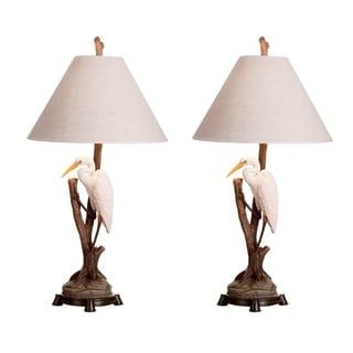 Seahaven Walking Egret Brown Resin 32-inch Table Lamp (Set of 2)
