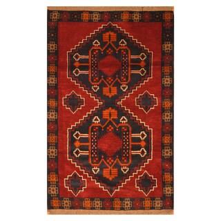Handmade Herat Oriental Afghan Hand-knotted Tribal Balouchi Wool Rug (3' x 4'9) - 3' x 4'9