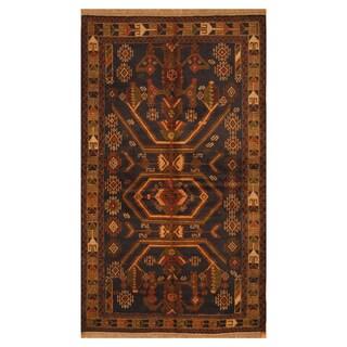 Handmade Herat Oriental Afghan Hand-knotted Tribal Balouchi Wool Rug (3'8 x 6'6)