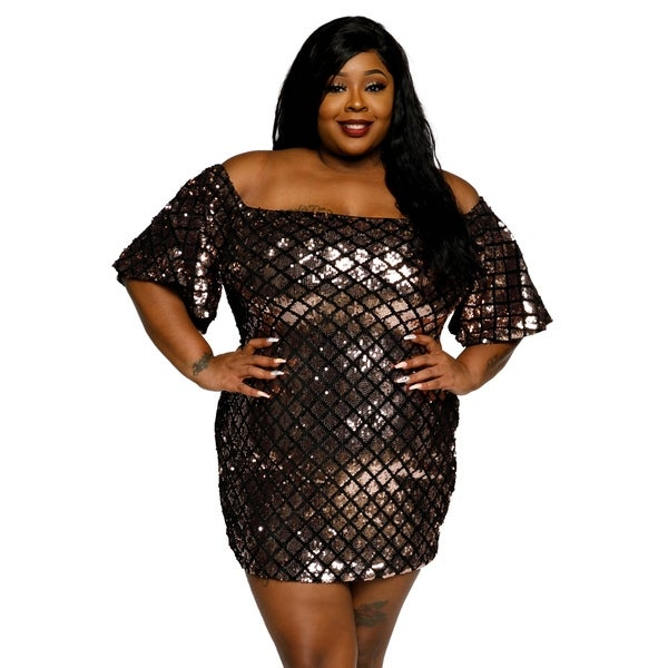 Shop Xehar Womens Plus Size Off Shoulder Sequin Bodycon ...