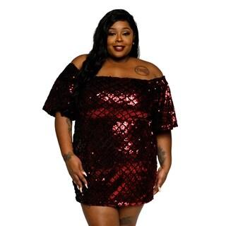 Xehar Womens Plus Size Off Shoulder Sequin Bodycon Party Dress